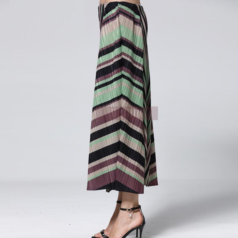 La Géométrique See Printemps 2019 Miyak Pantalon Nouveau Plissée Taille Femmes Chart Plus Changpleat Marée Imprimé Élastique Lâche Mode Jambes Larges À HTpF4FS