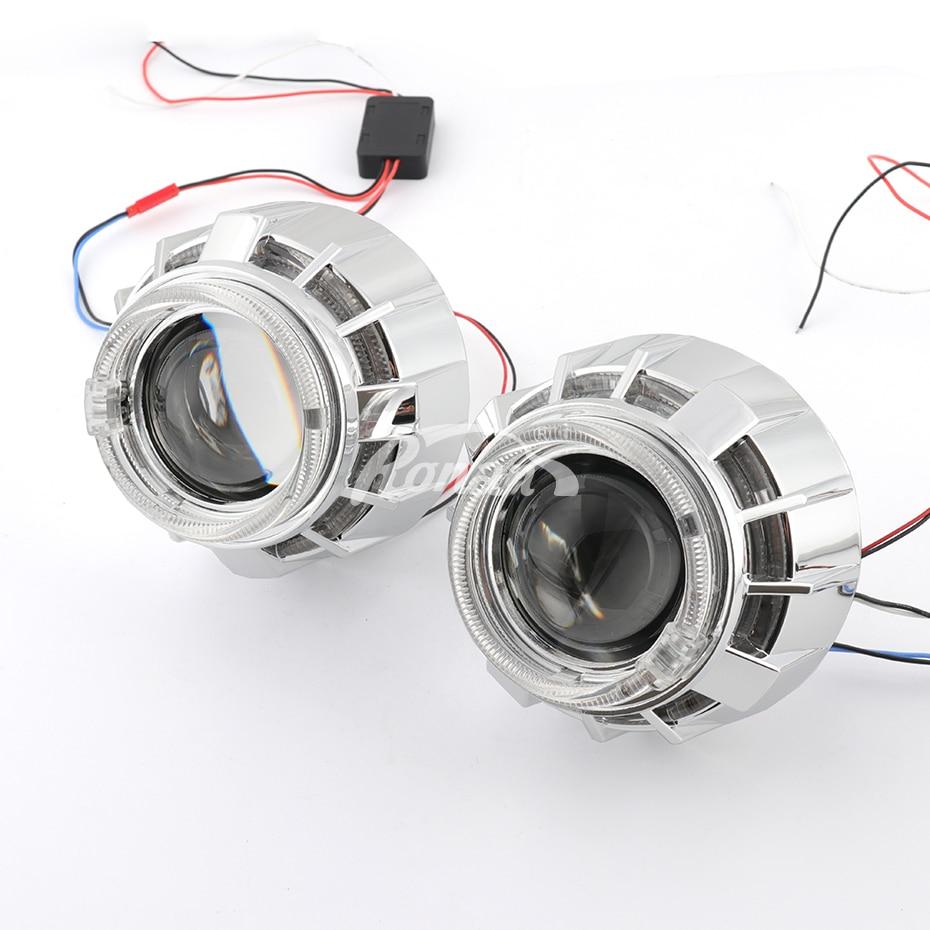 RONAN mini 2.5 double LED angel eyes drl Bi-xenon Projector 8.1 car headlight Lens h1 retrofit DIY h4 h7 car styling