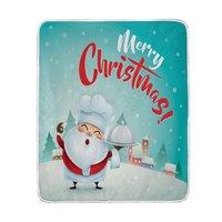 Feliz Navidad de Papá Noel Lindo Manta Nieve Caliente Suave Cómoda Cama Sofá Throw Manta de Microfibra De Poliéster Ligero