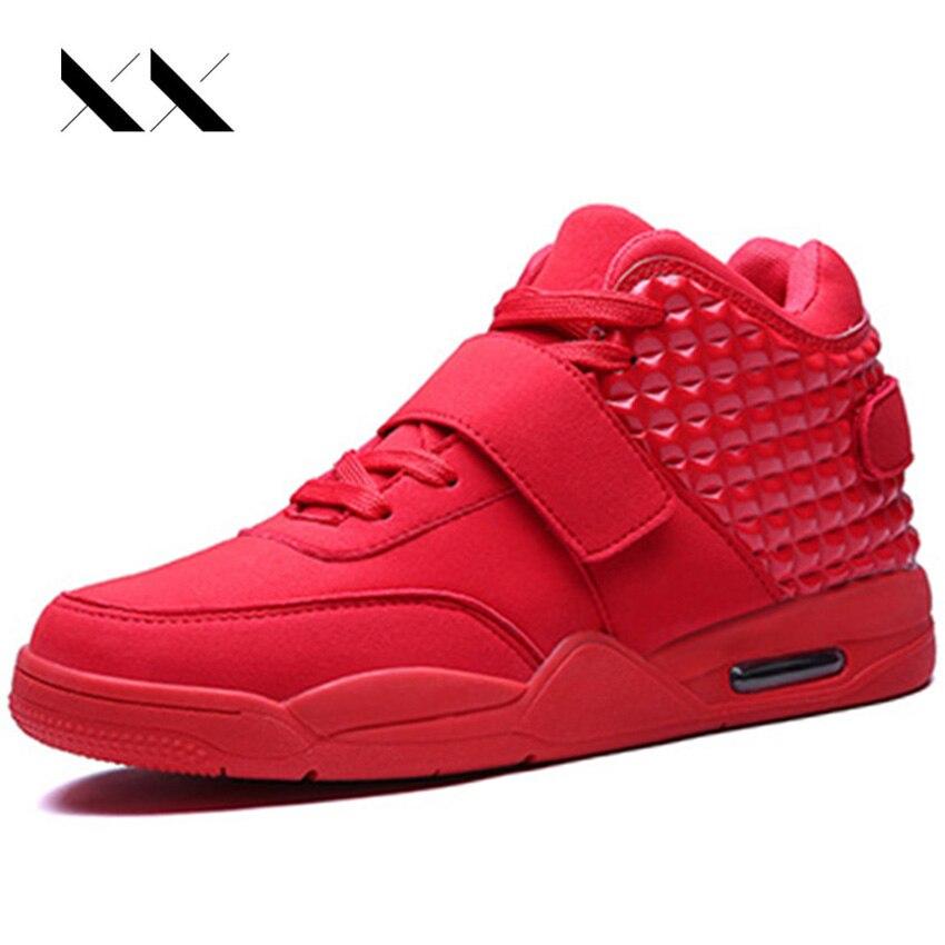 Большой Размеры 39–46 Бег Мужская обувь высокие Air Спорт Бег красной подошвой Спортивная обувь дышащая британский стиль Zapatillas Femme Сапоги и бо...