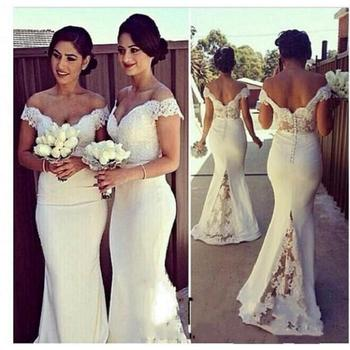 White Ivory Mermaid Bridesmaid Dresses 2020 robe demoiselle d'honneur Country Style Off The Shoulder Maid Of Honor Dress