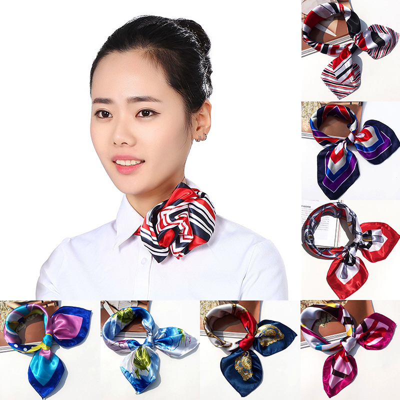 New 1Pc Women Girls New Arrival Flight Attendants Hotel Waiter Printing Square Imitate Silk Scarf