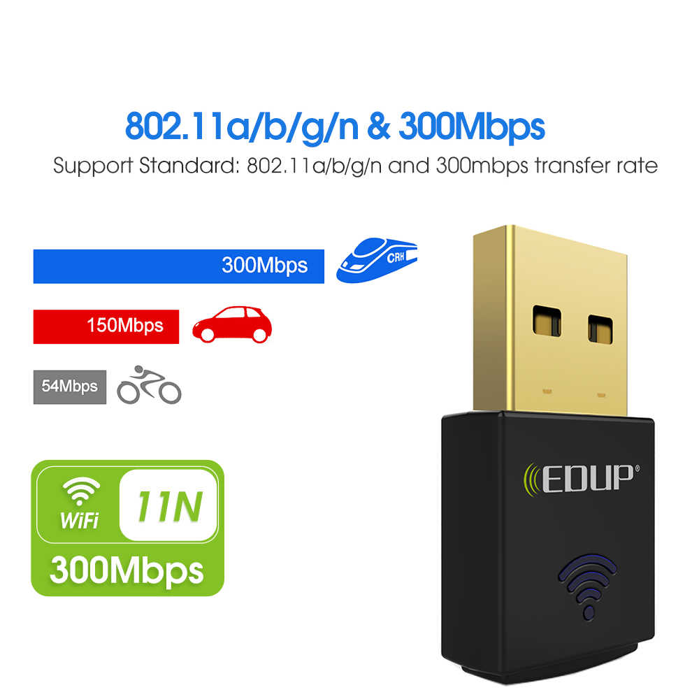 EDUP usb wifi adapter 300mbps 802.11n wi-fi receiver usb ethernet adapter network card Windows Mac for notebook desktop PC