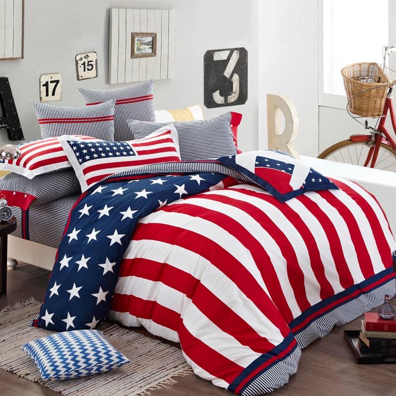 home textile bedding bedclothes duvet cover set 100 cotton kids boho bedding set usa flag bed. Black Bedroom Furniture Sets. Home Design Ideas