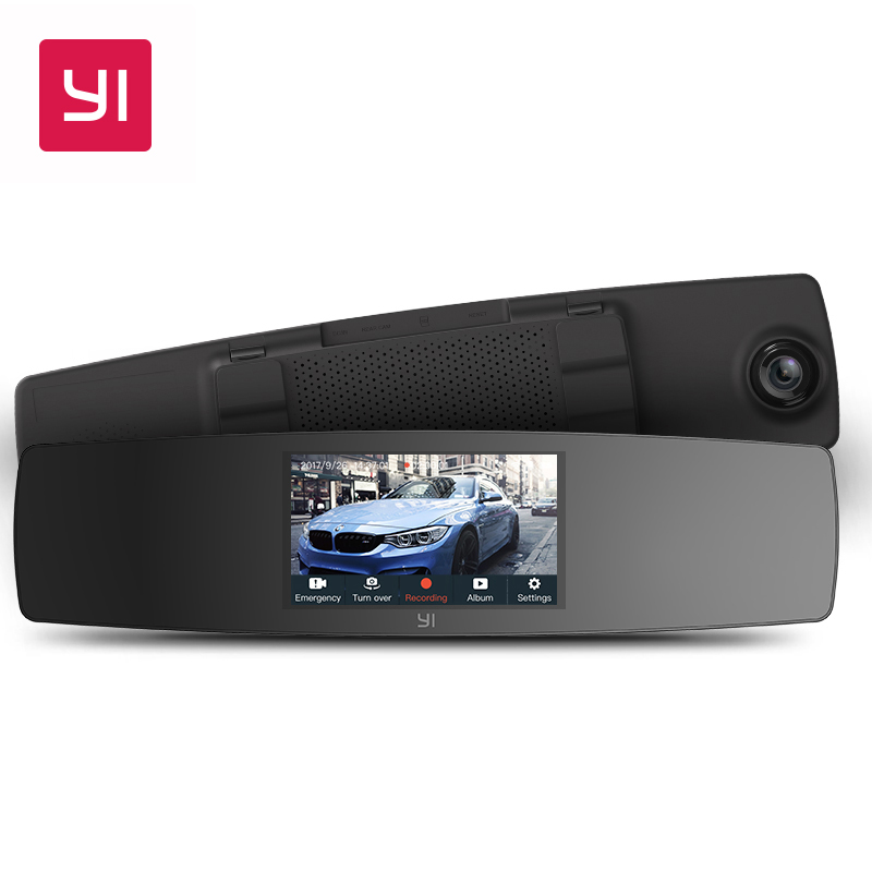 YI зеркало регистраторы двойной панели камеры рекордер сенсорный экран спереди заднего вида HD камера G датчик ночного видения Парковка мони...