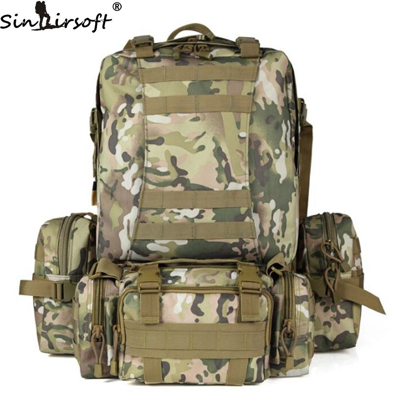 SINAIRSOFT 50L Molle High capacity Nylon Tactical Backpack Assault Military Rucksacks Backpack Camping Hunting Sport Bag LY0017 new arrival 38l military tactical backpack 500d molle rucksacks outdoor sport camping trekking bag backpacks cl5 0070