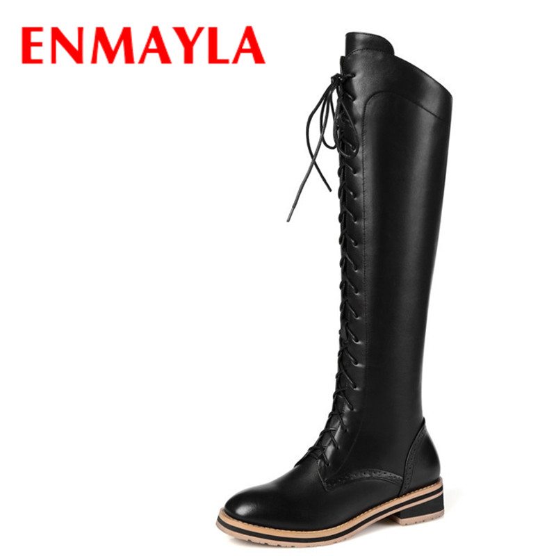 Airfour 2016 Autumn/Winter Fashion Knee-high Boots Shoes Woman Zip Lace-Up Big Size 34-42 Warm Long Casual Flat
