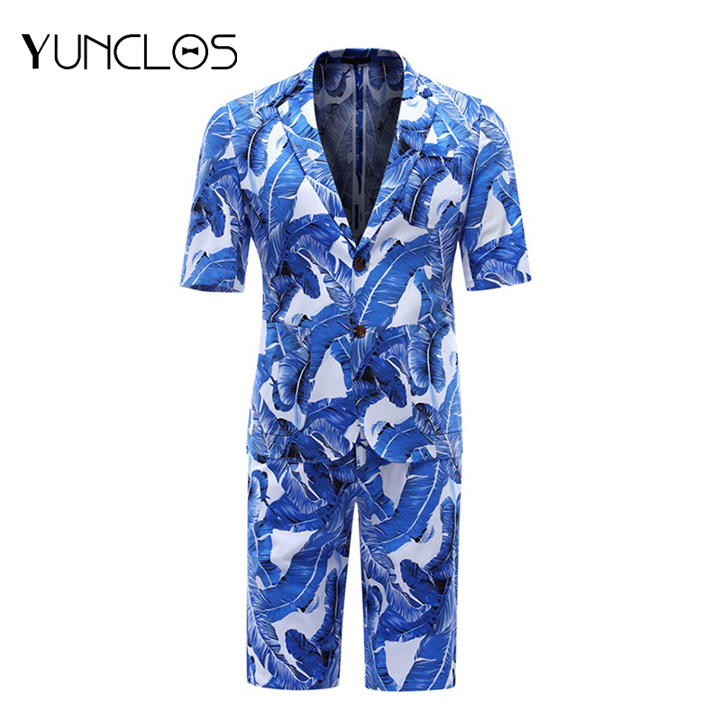 YUNCLOS New Fashion <font><b>Short</b></font> Sleeve <font><b>Men</b></font> <font><b>Suits</b></font> Summer Slim Fit <font><b>Suits</b></font> <font><b>Men's</b></font> Holiday Wears Fashion Printed <font><b>Suit</b></font> Blazers and <font><b>Shorts</b></font> image