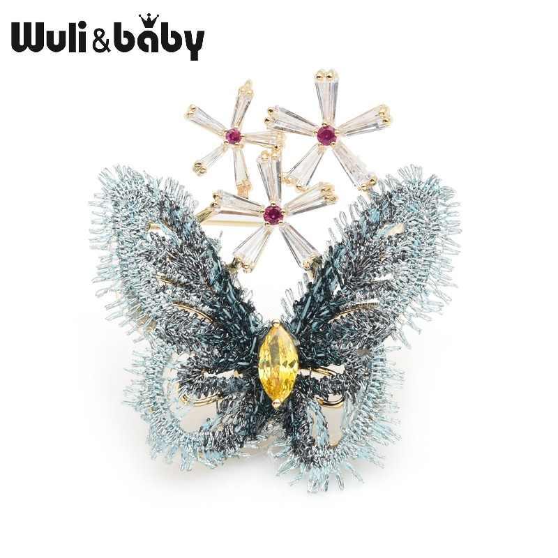 Wuli Bayi Gaya Istana Biru Renda Kain Butterfly Bros Crystal Serangga Bros Pin Tahun Baru Hadiah