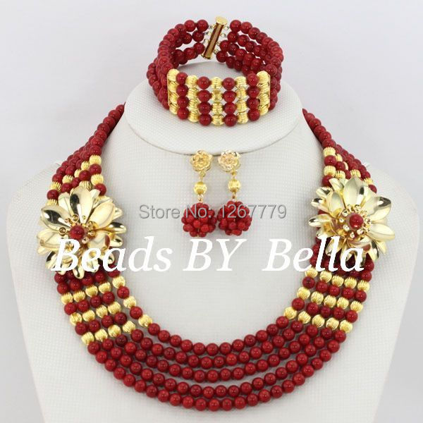 Pretty Bridal Sets 5 Rows Party Jewelry Set New Red Coral Beads Nigerian Wedding African Beads Jewelry Set Free Shipping ABS133Pretty Bridal Sets 5 Rows Party Jewelry Set New Red Coral Beads Nigerian Wedding African Beads Jewelry Set Free Shipping ABS133