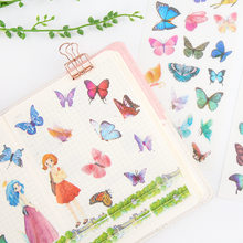 6 Sheets/Pack Kawaii Colorful Butterfly Decorative Sticker Dairy Album DIY Decor Craft Stick Label(China)