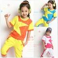 2015 New Summer Children's clothing Sport Style Girl Suit Short Sleeve Short Pants Knitted Sportswear Sets Kids Star Print