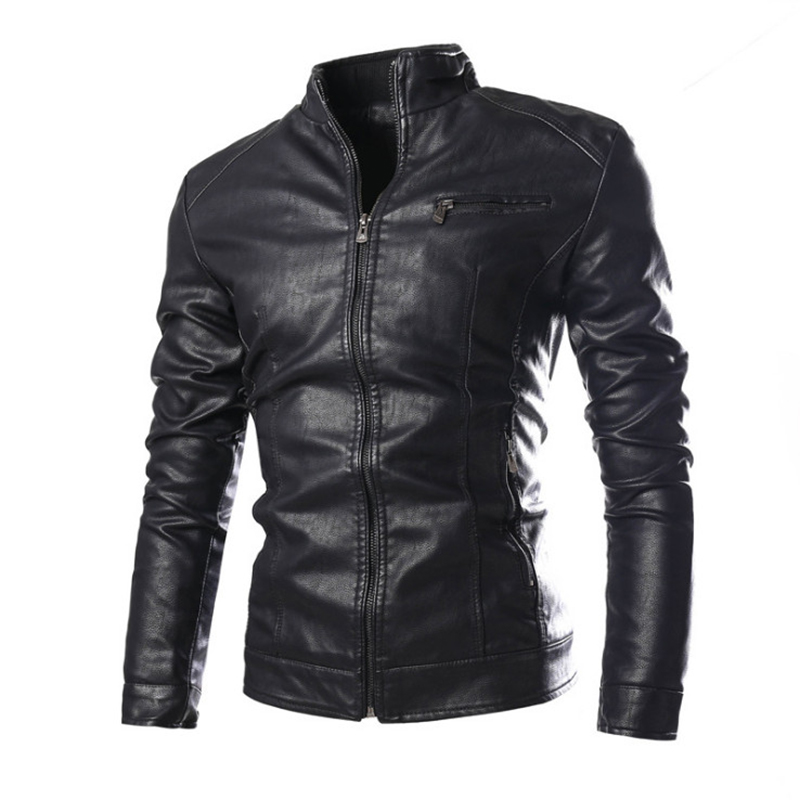 2019 Autumn PU Biker Jacket Men New Casual Motorcycle Leather Jacket Male Zippers Black Coats Jaqueta De Couro Masculina