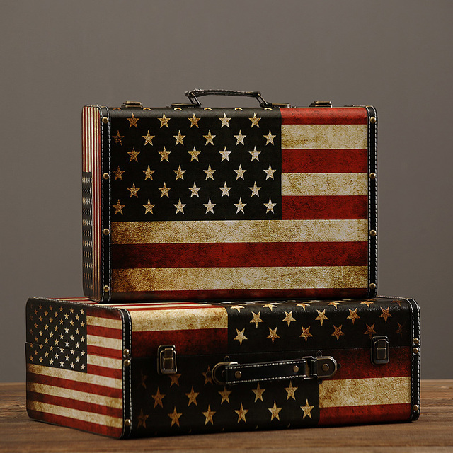American Rustic American Flag Pattern Suitcase Home Decorative Suitcase  Vintage Home Furnishing Storage Suitcase