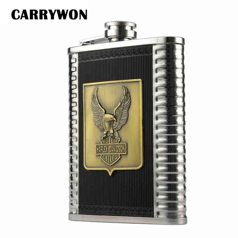 CARRYWON 8oz 304 Stainless Steel Hip Flask Eagle Harly Davidson Pattern Outdoor Sports Portable Mini Flask
