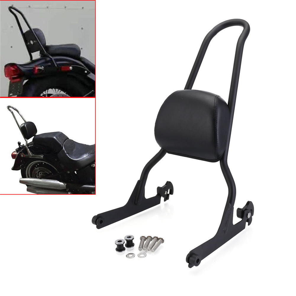 Neverland Motorcycle Detachable Backrest Sissy Bar For Harley Fatboy LO FLSTF Softail FXST FLST CVO Black D35 motorcycle backrest sissy bar cushion pad for 2007 2016 harley softail fatboy