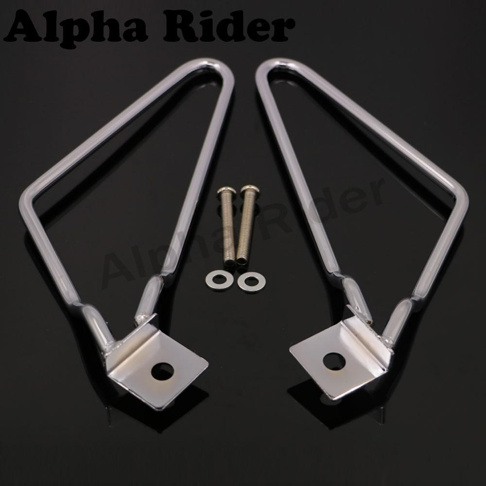 Chrome Motorcycle Saddlebag Brackets Support w/ Mounting Bolts for Harley Sportster Iron Dyna Fat Bob FXDF FXST FLST XL 883 1200 universal motorcycle handlebar cup holder chrome metal drink for honda kawasaki harley davidson tour dyna sportster fat bob
