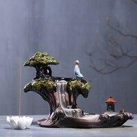 Exquisite Glazed Ceramic Backflow Incense Holder Incense Burner Aromatherapy Furnace for Home Desk Decor with Lotus Base
