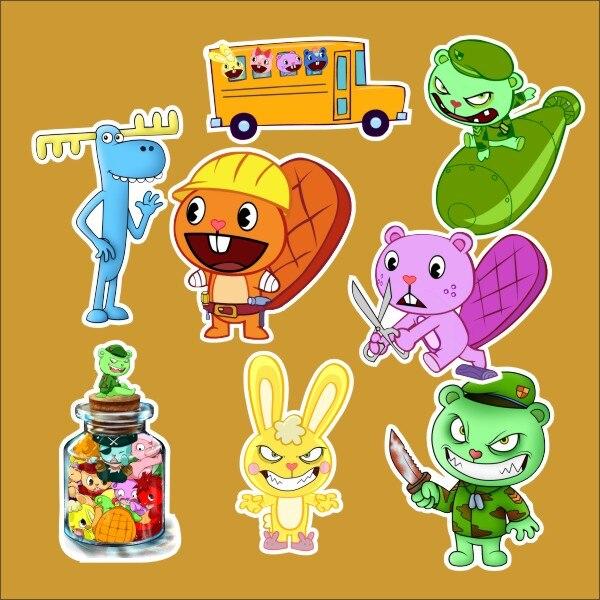 8pcs 1lot Happy Tree Friend Sticker Lumpy Cuddles refrigerator skateboard trolley case backpack Tables book sticker