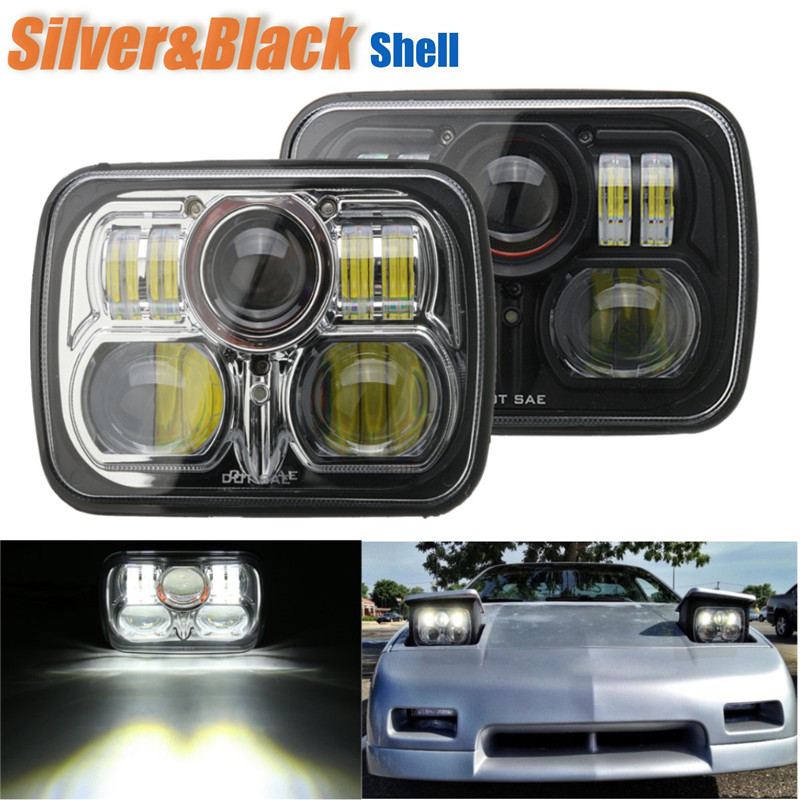 7x6 Square Black Silver LED Headlight 54W 12/24V Front Led with High Low Beam Driving Offroad Lamp For Jeep/Wrangler black 7 round led headlight h4 high low beam for jeep wrangler 07 16 for hummer toyota defende led offroad driving