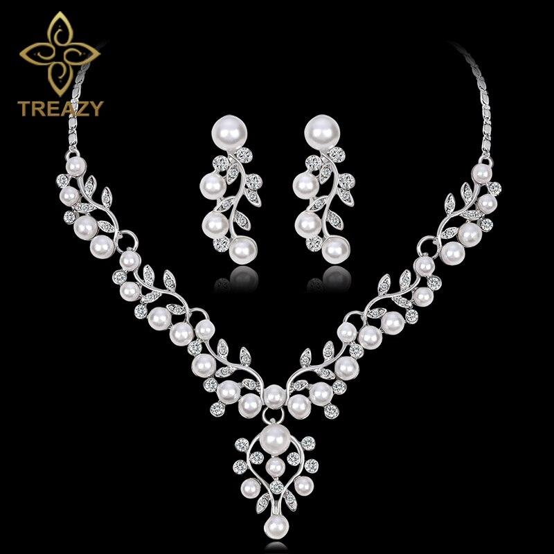Diplomatisch Treazy Luxus Simulierte Perle Braut Schmuck Sets Silber Farbe Kristall Halsketten Ohrringe Sets Blumen Hochzeit Prom Schmuck Set Schmuck & Zubehör