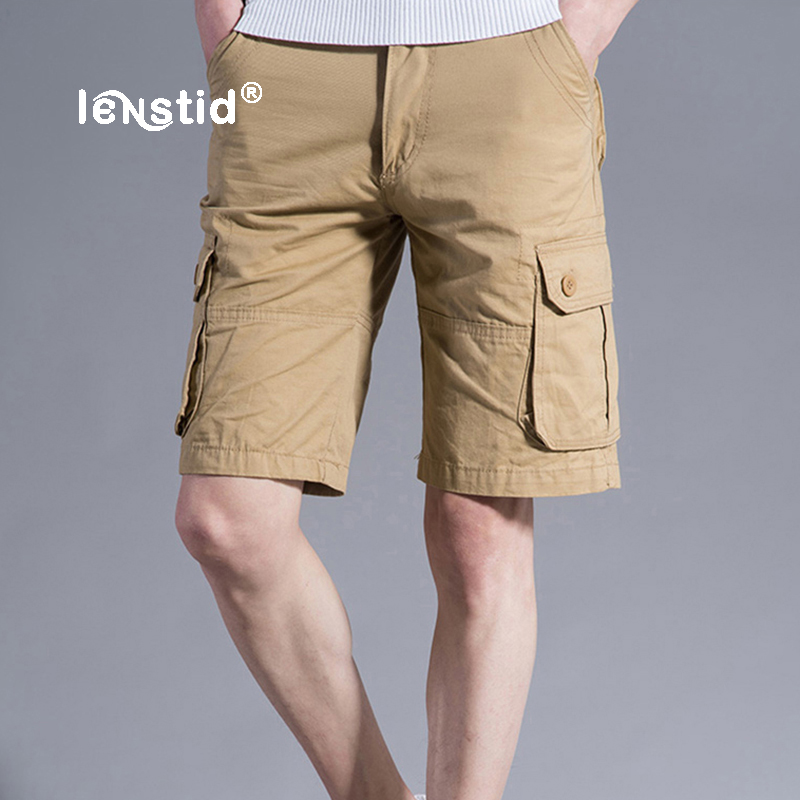 LENSTID New 2018 Men Cargo Shorts Casual Loose Short Pants Camouflage Military Summer Style Knee Length Plus Size 6 Colors