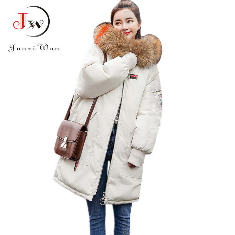 Winter Jacket Women fur Collar Hooded Winter Long Coat Warm   parka   chaqueta mujer Outerwear Down Cotton Jackets Plus Size