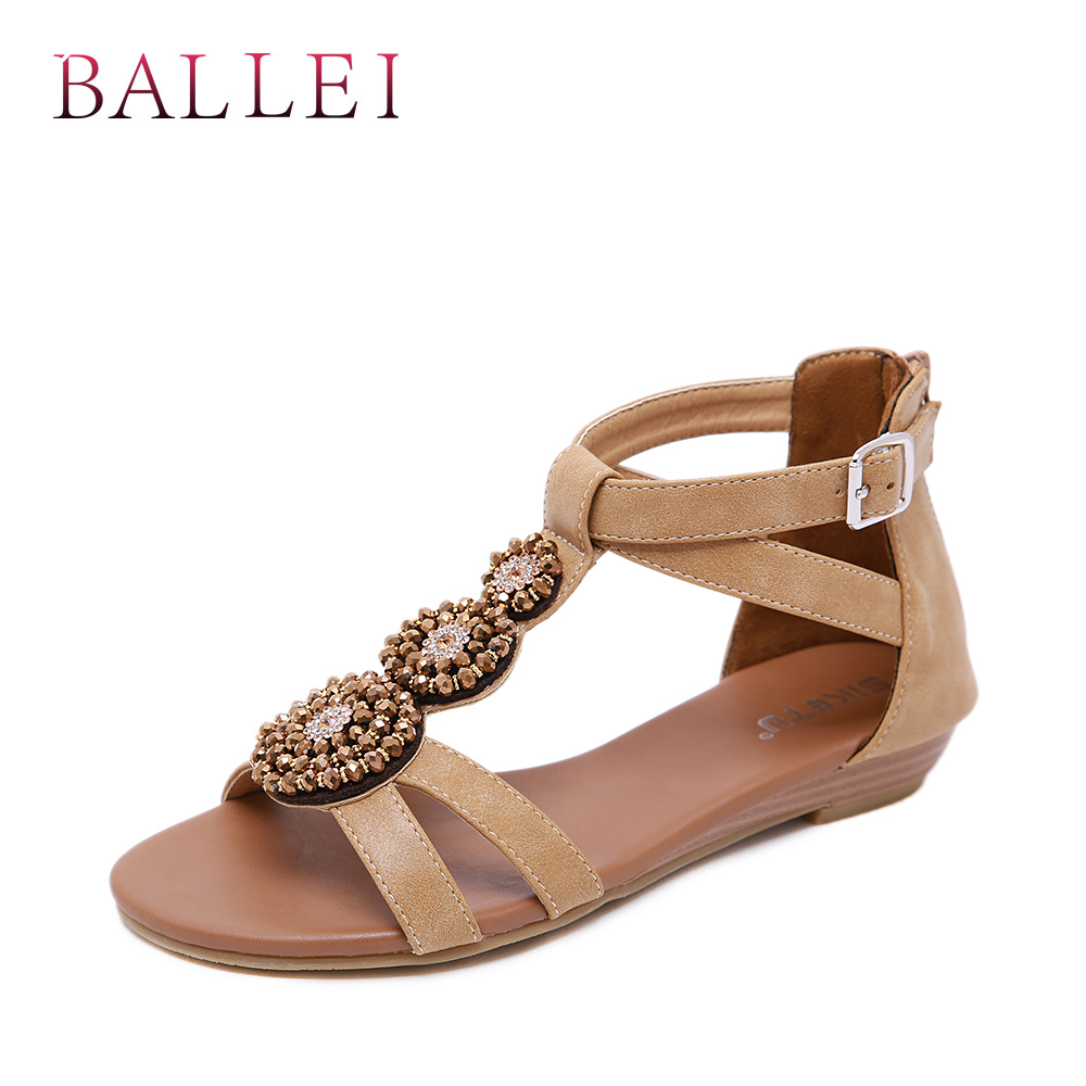 Balle High Quality Woman Sandals Vintage Genuine Leather Comfortable Low Heel Shoes Elegant Lady Ethnic Retro Casual Sandals S71 Heels Women's Shoes
