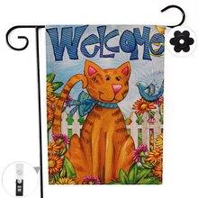 """Двухсторонний милый кот птица Цветы добро пожаловать сад флаг баннер с ветрозащитной резиновой пробкой клип 12,"""" x 18,5"""" 32x47 см"""