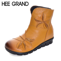 HEE GRAND Women Ankle Boots Soft Flats Flower Decoration Womens Autumn Winter Genuine Leather Shoes Large