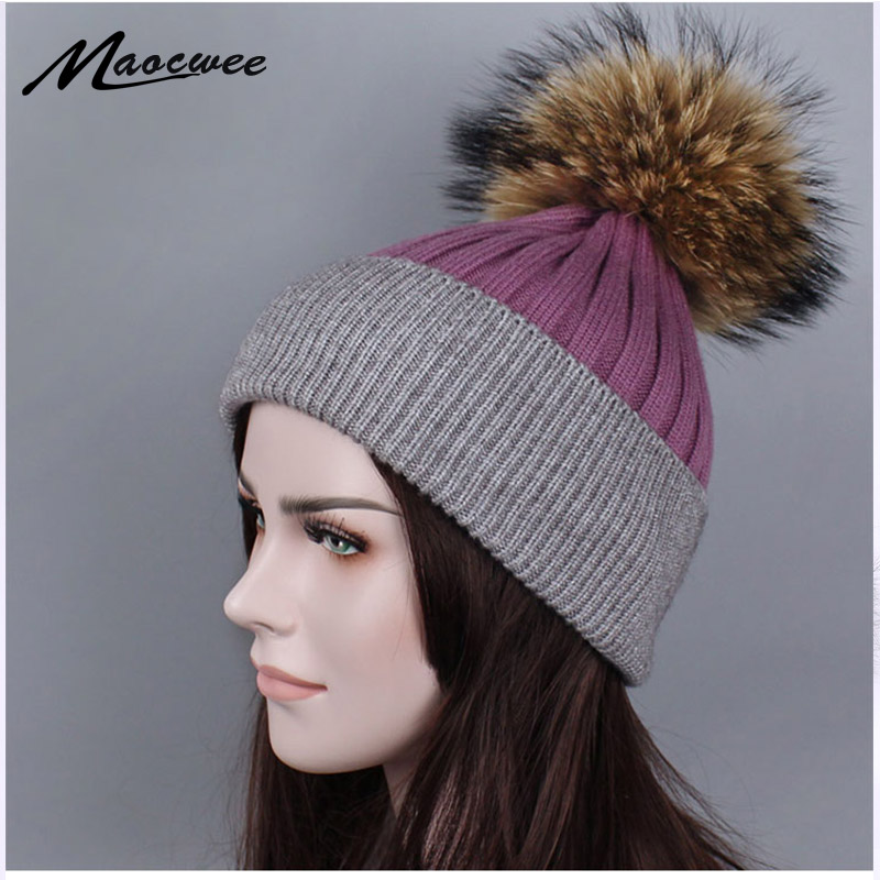 2018 High Quality Winter Natural fur Hat Women Knitted Hat Women Hat Winter   Skullies     Beanies   Fashion Winter Pom Poms Female Bone