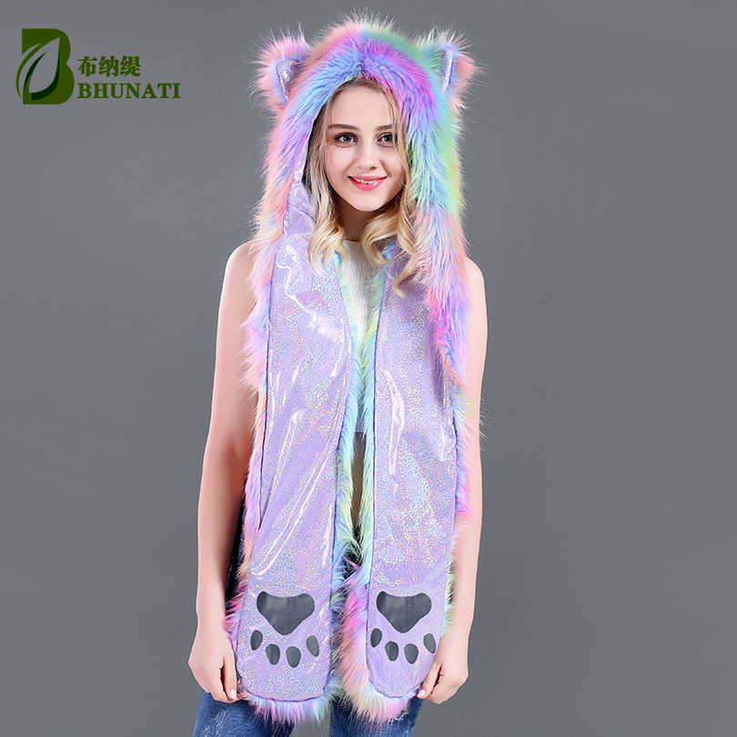 81218a6de24 Detail Feedback Questions about 2018 multicoloir winter hoods animal cute  faux cosplay fur cap hat Faux Fur Cute Cartoon stage Caps hat with scarves  on ...