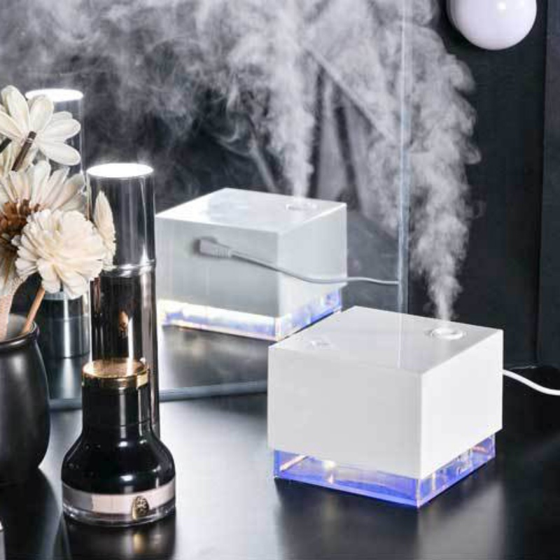 Water Cube Shape Ultrasonic Humidifier LED Blue Light Night Lamp Aroma Essential Diffuser Mini Aromatherapy Air Purifier