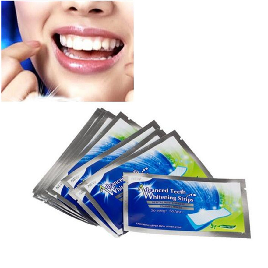 ᗐ14pairs New Teeth Whitening Strips Gel Care Oral Hygiene Clareador
