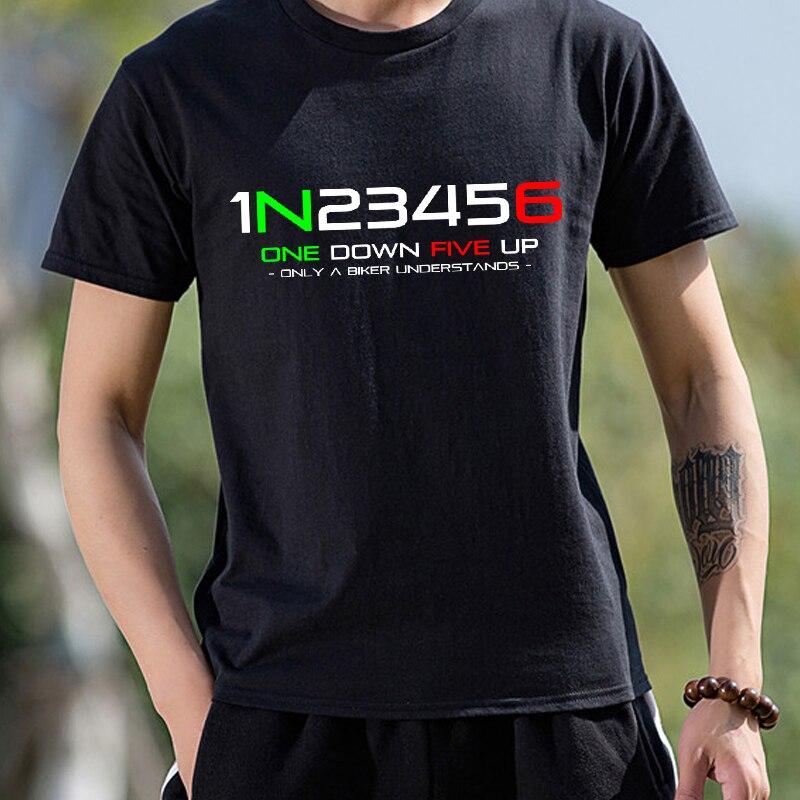 Мужская одежда, модная футболка с коротким рукавом в стиле хип-хоп 1N23456, забавная Хлопковая мужская футболка с принтом мотоцикла