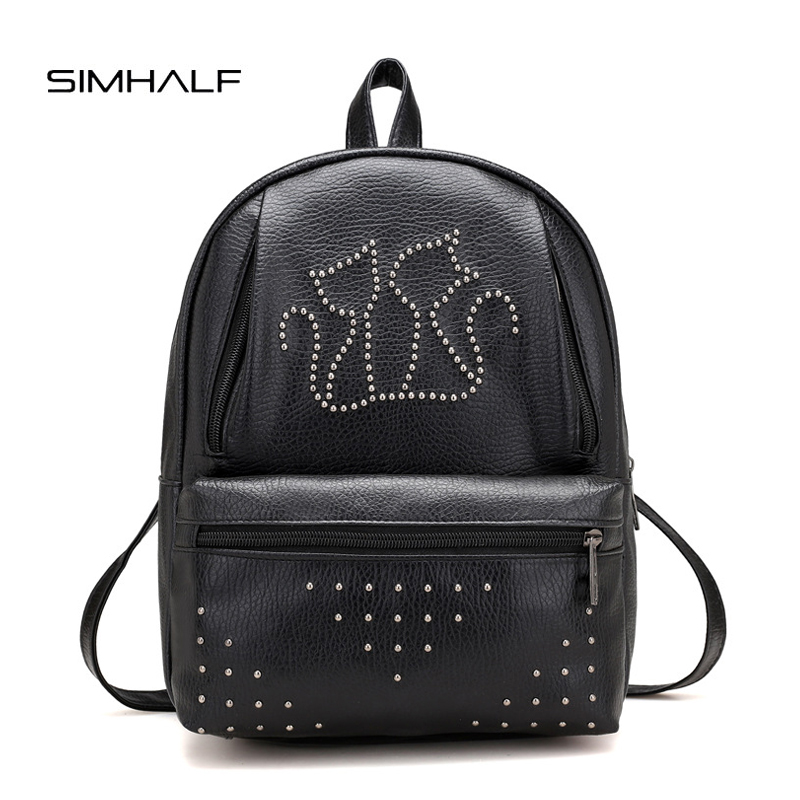 SIMHALF Leather Backpack Large Capacity Rivet Black Shoulder Bag Women Casual Backpack Teenage Girls School Travel