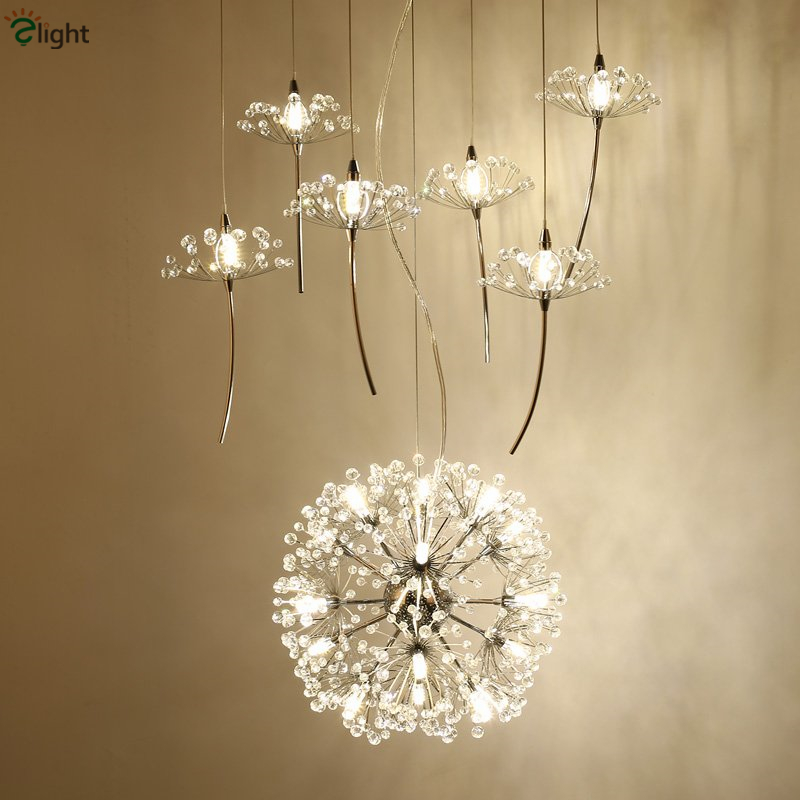 Nordic design plate metal dandelion chrome led pendant for Lustre suspension triple