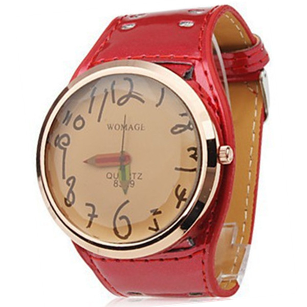 Big Dial Leather Pencil Relojes Fashion Ladies Cartoon Cute Wristwatches New Hot Women Casual Quartz Watches Womage Clock Female