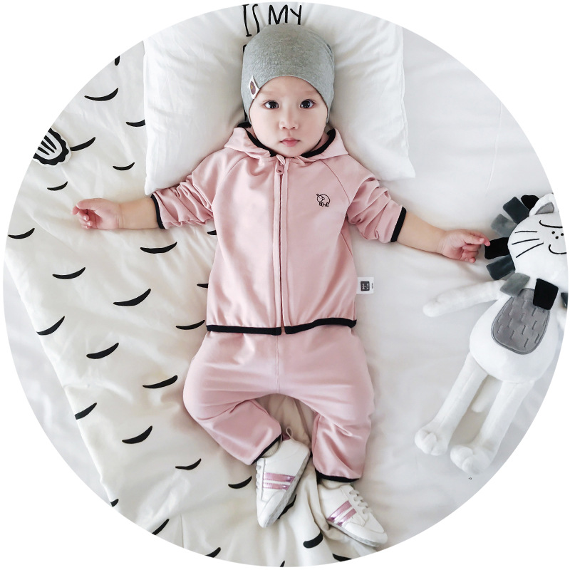 2018  Spring clothing Baby Sheep letter Printing two-piece Hat Leisure suit