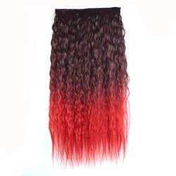Gres странный вьющиеся высокое Температура волокно Для женщин 24 дюймов/60 см волос Pad 5 Clip-in Ombre длинные Синтетические пряди для наращивания
