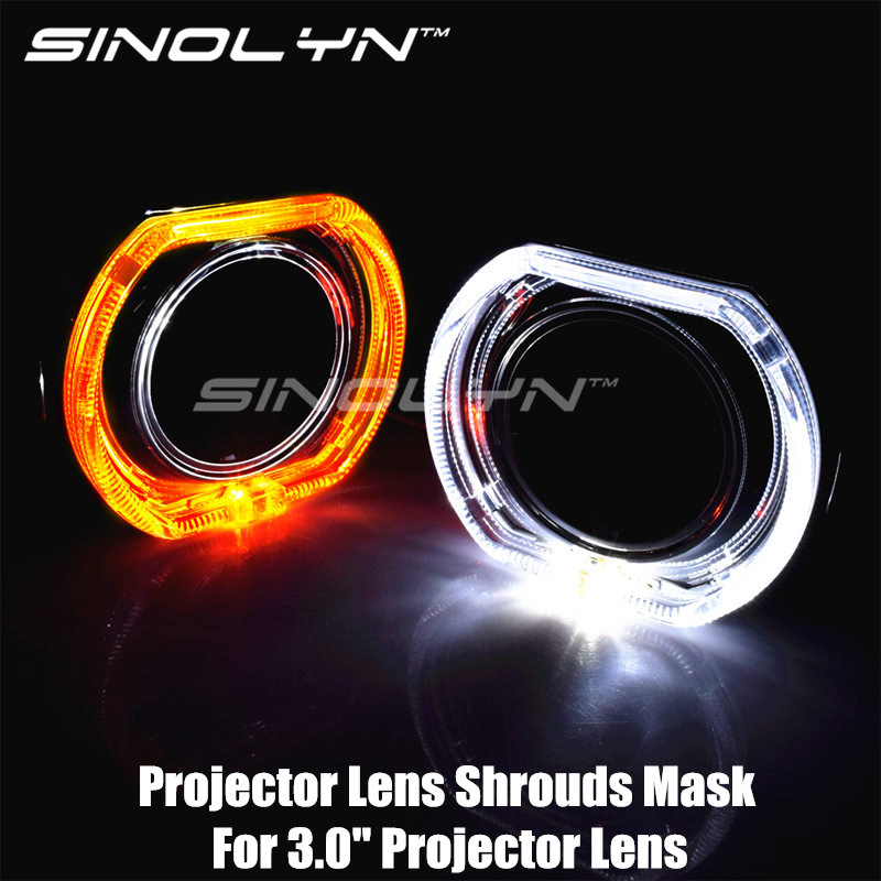 Square LED DRL Angel Eye Integrated Bezel Shrouds Masks W Switchback Amber Turn Signal Lamps For