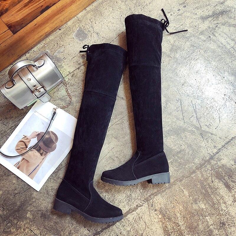Botas De Moda N135 La Encima Salvaje Cabeza 2018 Por Rodilla Fondo Invierno Con Redonda Mujer Para Cómodas Cordones Plano Black dUx4qnF