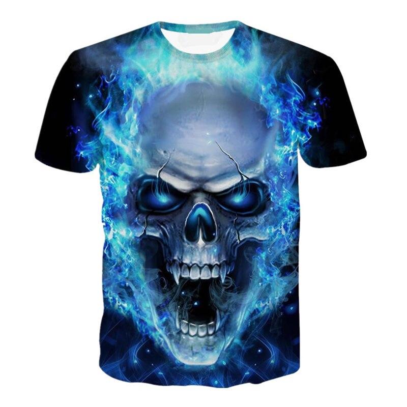 Summer Short Sleeve T Shirt Men Blue Flame Skull Print 3d