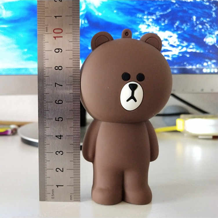 Korean 3D silicone brown bear cony container for pencil bag kids toys compatible with coin case Children's keychain coni toy