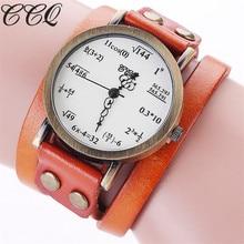 CCQ Brand Fashion Vintage Creative Leather Math Formula Equation Watch Casual Women Bracelet Quartz Watch Relogio Feminino C92