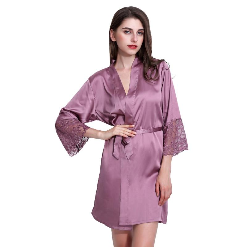 [Clearance] 4 Colors Plus Size Deep-V Sexy Women Rayon Silk Lace Robes Bathrobe Sleepwear Nightwear