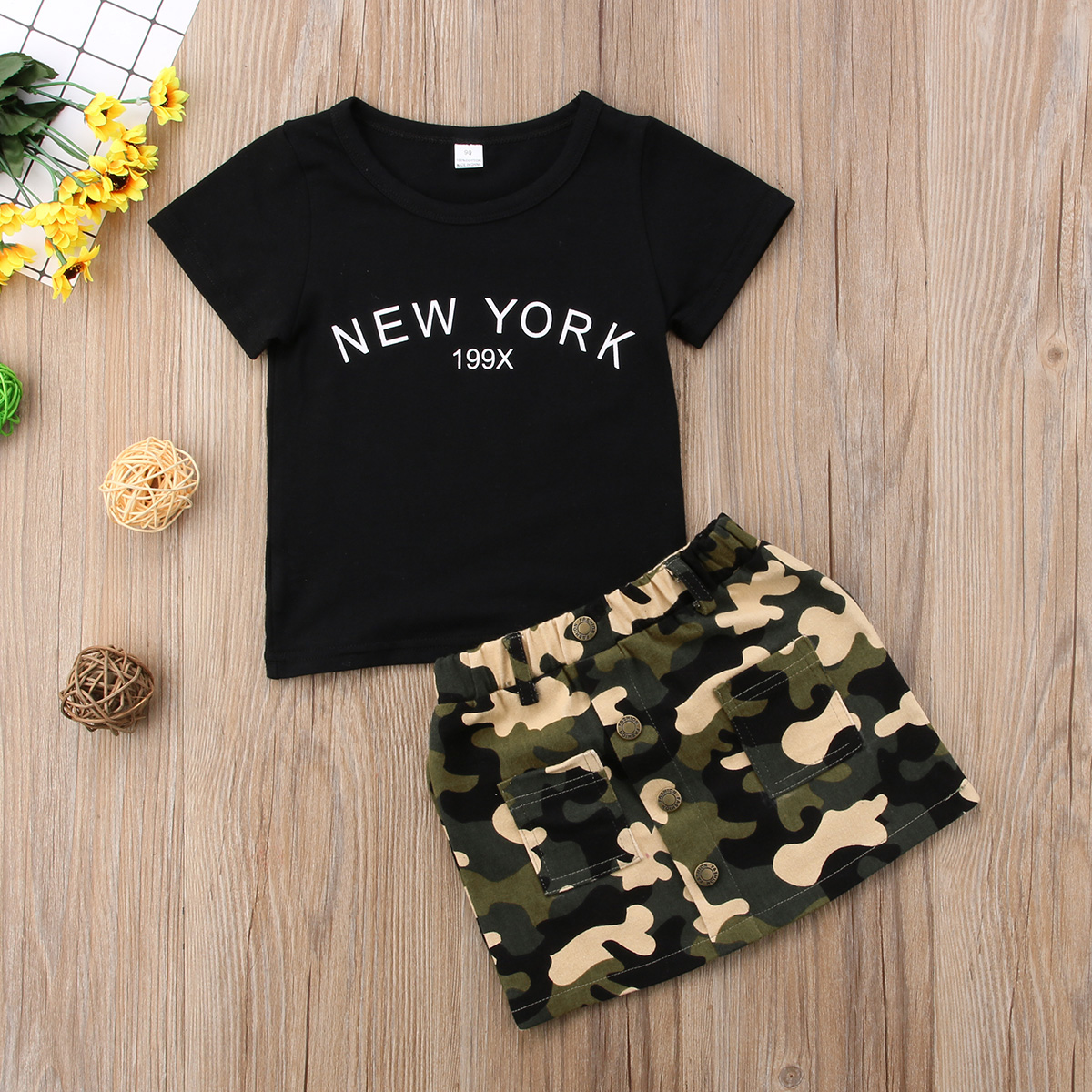 US CANIS Newborn Toddler Baby Girls Tops T-shirt Skirts Camouflage Dress Clothes