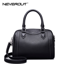 NeverOut Ladies Boston Handbag Fashion Women Genuine Leather Handbags Solid Shoulder Bag Sac Zipper Classic Crossbody Bags