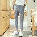 2017 весна мужчины белье случайные брюки летние мужчины брюки лодыжки длина брюки комфортно все матч плюс размер прямые брюки мужчины