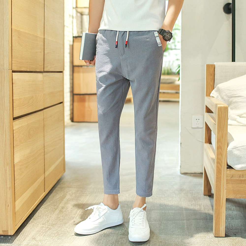 2017 spring men linen casual trousers summer male pants ...